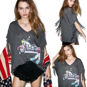 NWT Wildfox Born To Be Bad Wild West Fringe Tee
